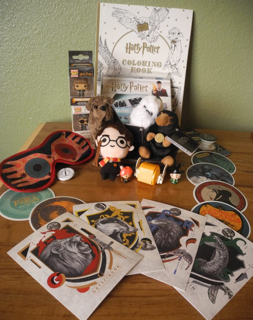 The Back to Hogwarts prize pack included a variety of items, from stickers to postcards to plush characters.