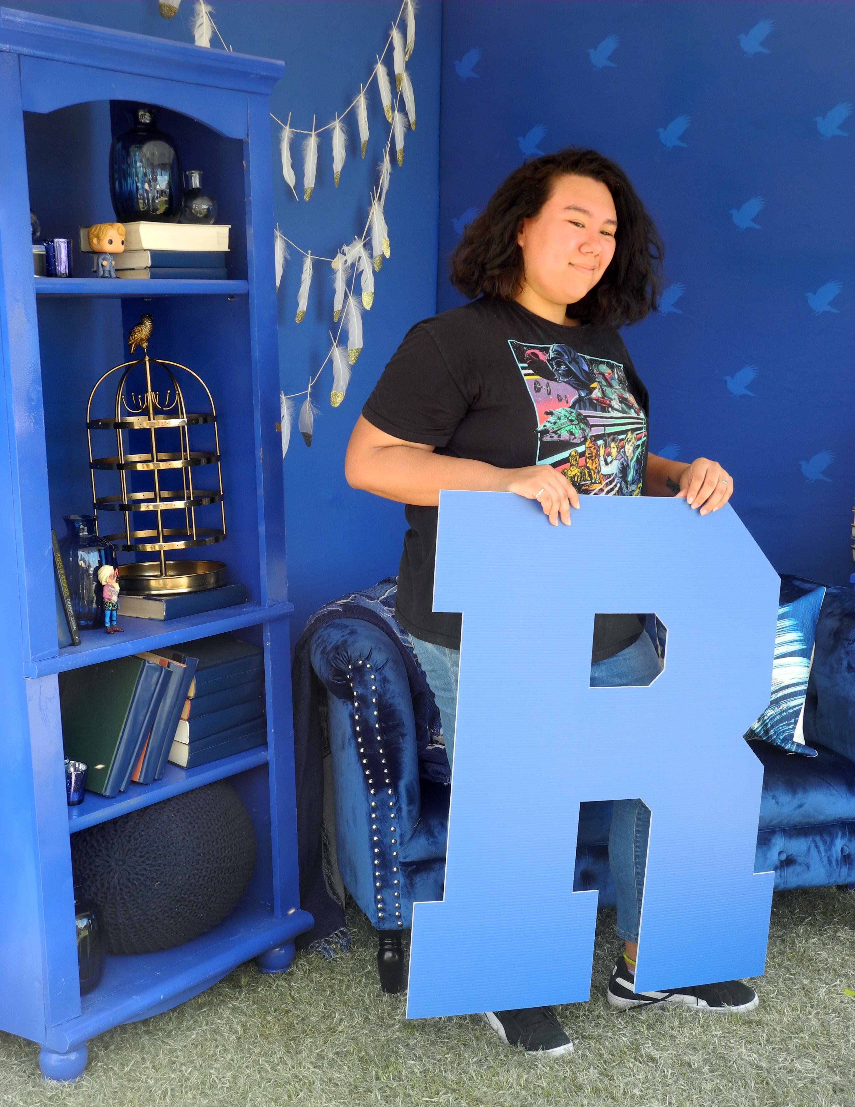 A Ravenclaw student from the University of Arizona shows her House pride during a Back to Hogwarts event at the school.
