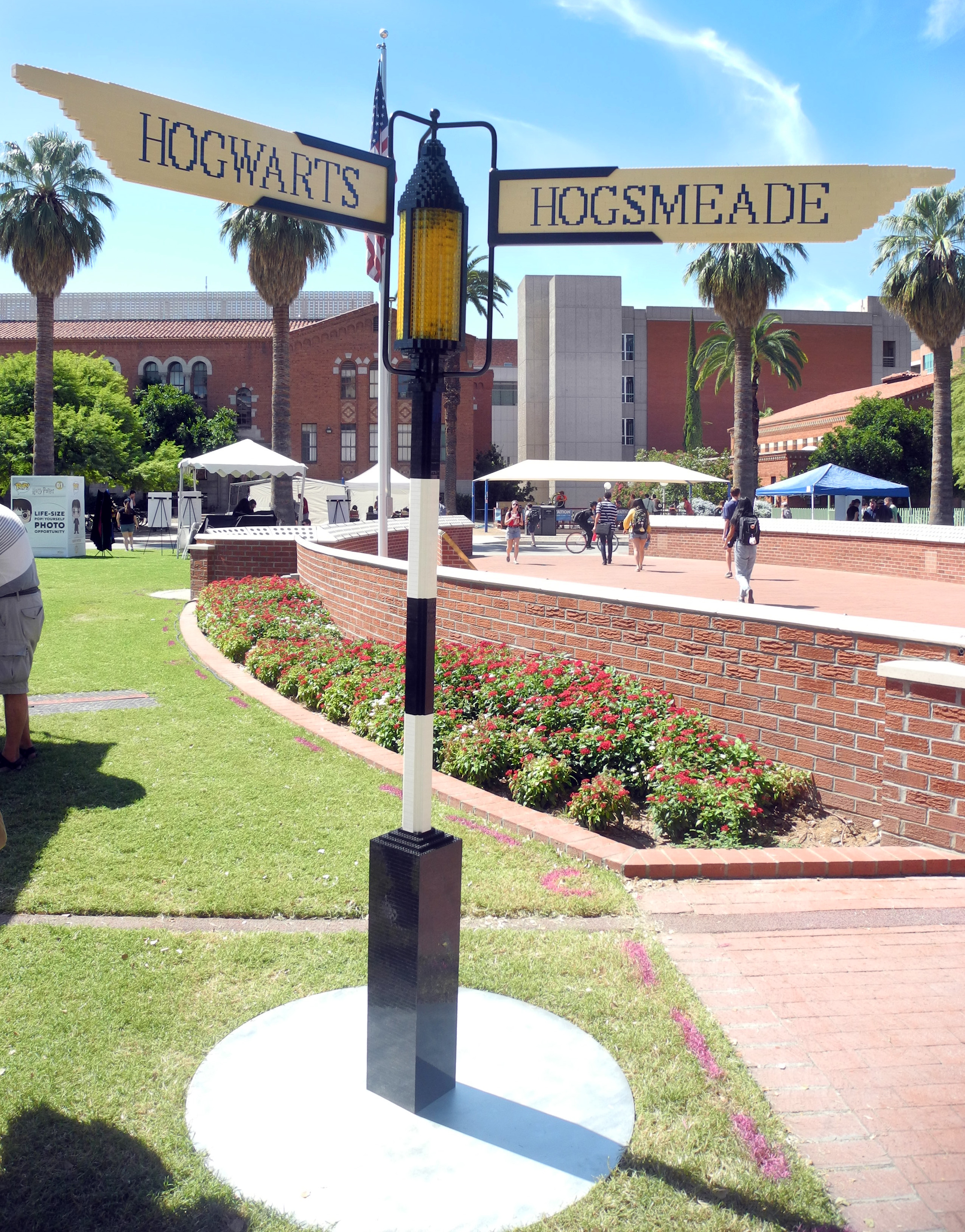 A signpost constructed entirely from LEGO bricks directed University of Arizona students to Hogwarts and Hogsmeade.