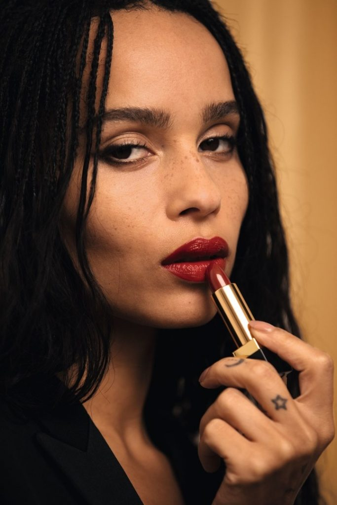 Zoë Kravitz shows off one of the new shades in her lipstick line for Yves Saint Laurent.