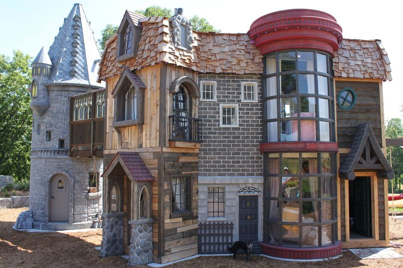 "An exterior shot of the ""Harry Potter"" playhouse"