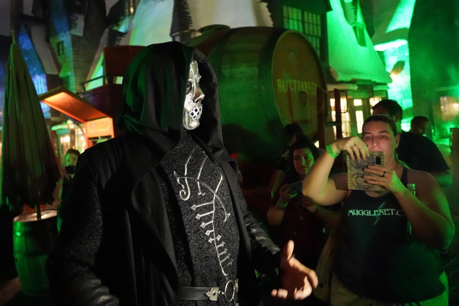 """The Death Eaters at """"Dark Arts at Hogwarts Castle"""" Roam the Streets of Hogsmeade Village."""