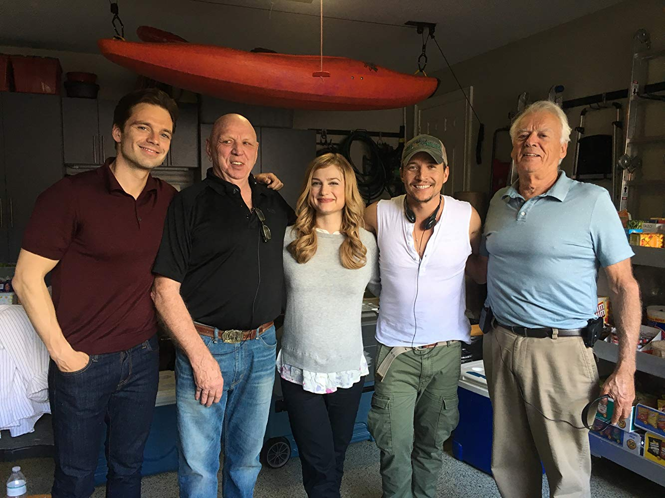 "Alison Sudol is pictured with castmates and crew from ""The Last Full Measure""."
