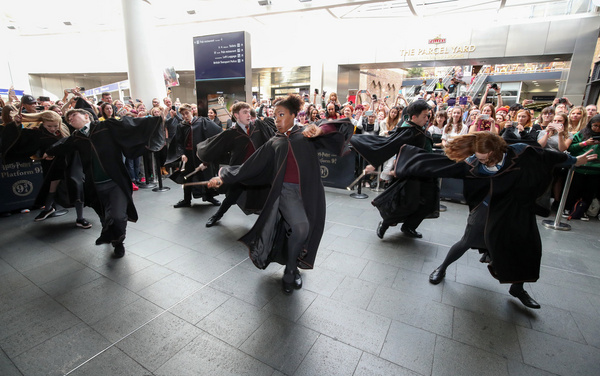 """Cast members from the West End production of """"Harry Potter and the Cursed Child"""" perform the """"Wand Dance"""" scene."""