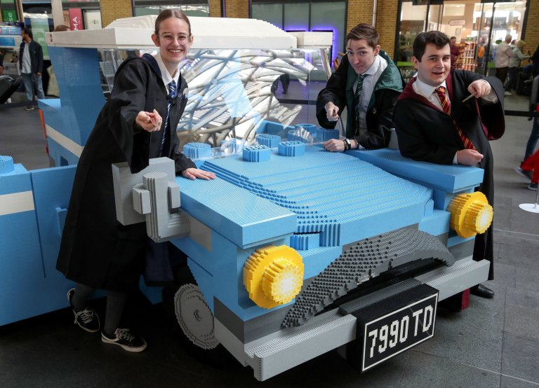 A trio of fans have a backup plan in case they miss the Hogwarts Express at King's Cross.