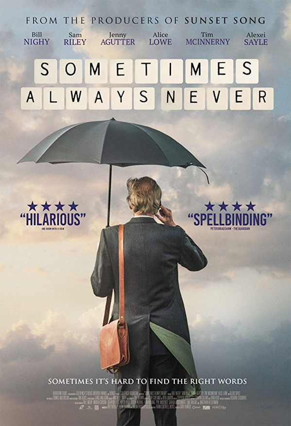 "Bill Nighy is pictured in a movie poster for ""Sometimes Always Never""."