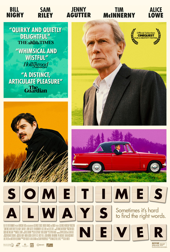 "Bill Nighy is featured in a movie poster for ""Sometimes Always Never""."
