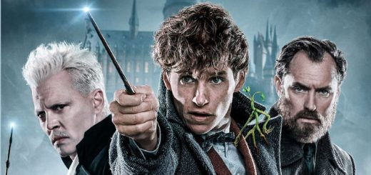 "The characters Gellert Grindelwald, Newt Scamander, and Jacob Kowalski are pictured in a promotional image for ""Fantastic Beasts: The Crimes of Grindelwald""."