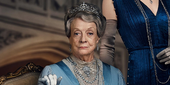 """Dame Maggie Smith appears as the Dowager Countess of Grantham in a poster for """"Downton Abbey""""."""