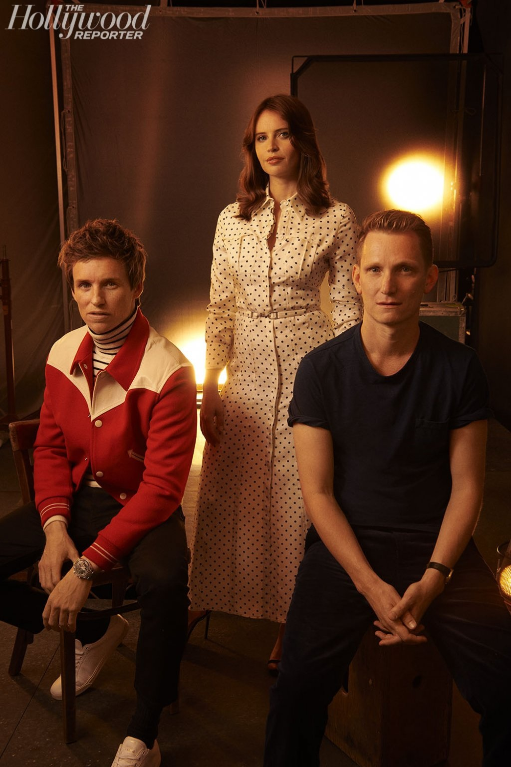 "Eddie Redmayne sits for a portrait with ""The Aeronauts"" costar Felicity Jones and director Tom Harper at the Toronto International Film Festival."