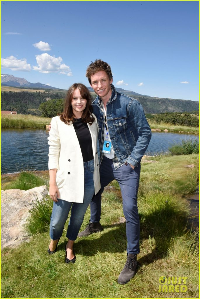 "Eddie Redmayne poses with ""The Aeronauts"" costar Felicity Jones during the Telluride Film Festival."