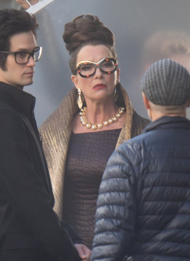 """Dame Emma Thompson listens to the crew during filming for """"Cruella"""" last week in London."""