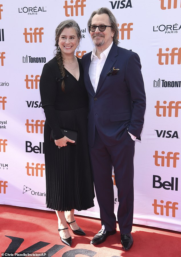 Gary Oldman and Meryl Streep pose on the red carpet at the Toronto International Film Festival.