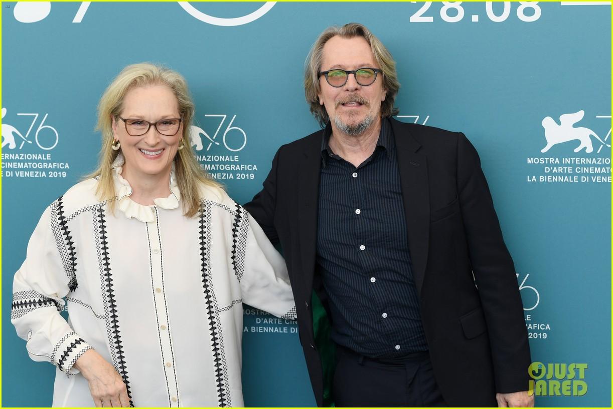 "Gary Oldman poses with ""The Laundromat"" costar Meryl Streep at the Venice International Film Festival."