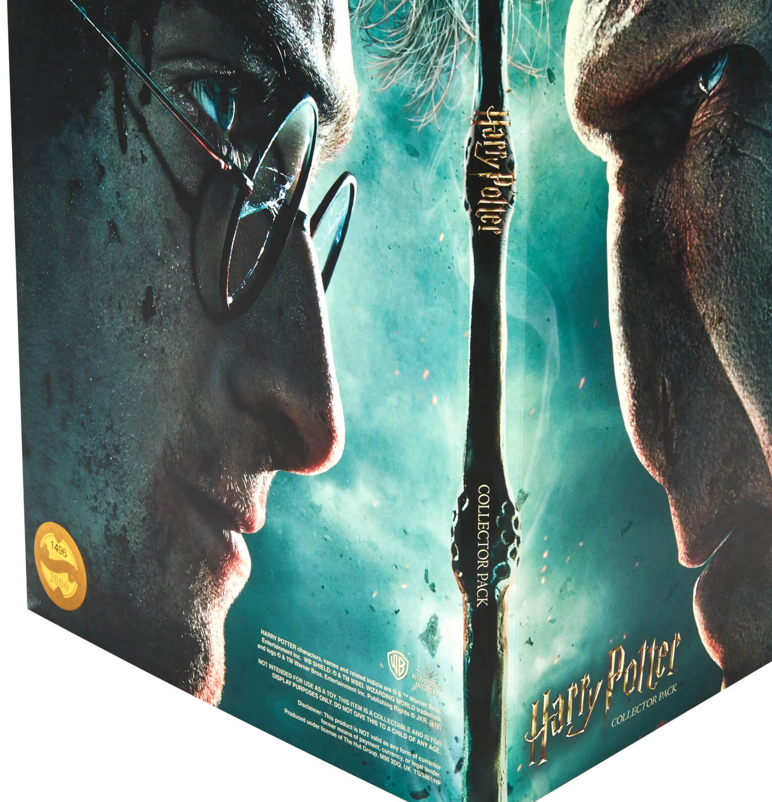 "The exterior of the ""Harry Potter"" coin Advent calendar features Harry Potter facing off against Lord Voldemort."