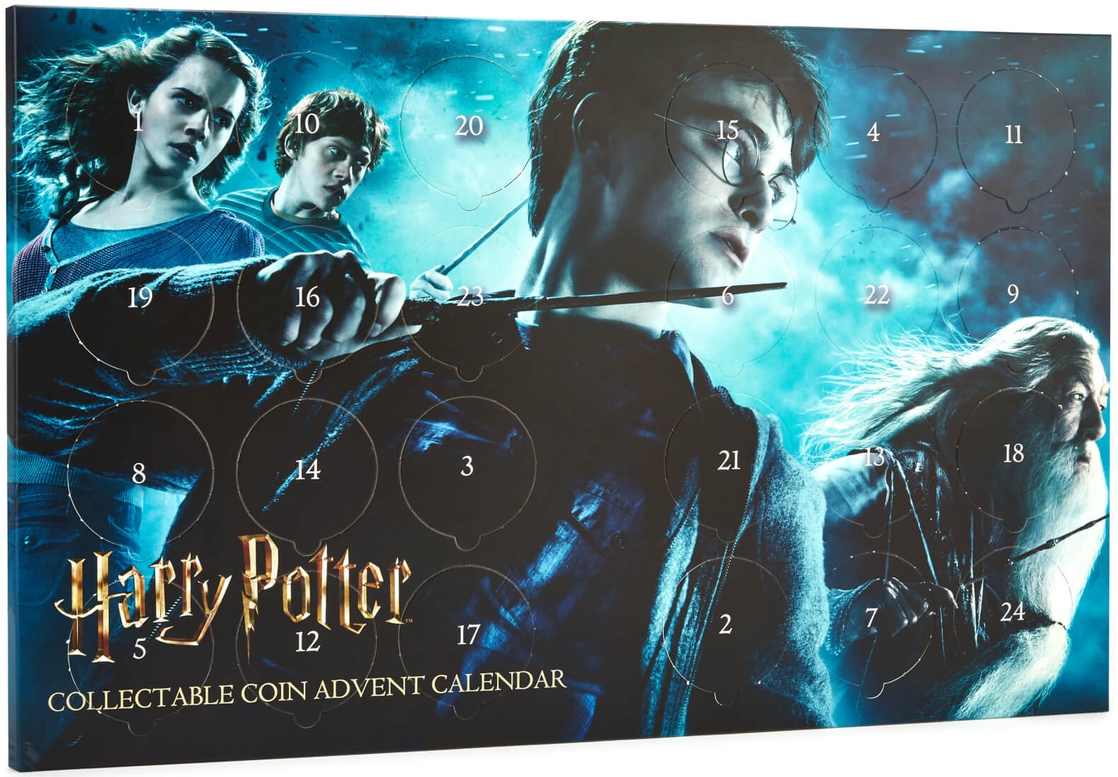"The ""Harry Potter"" coin Advent calendar features 24 collectible coins."