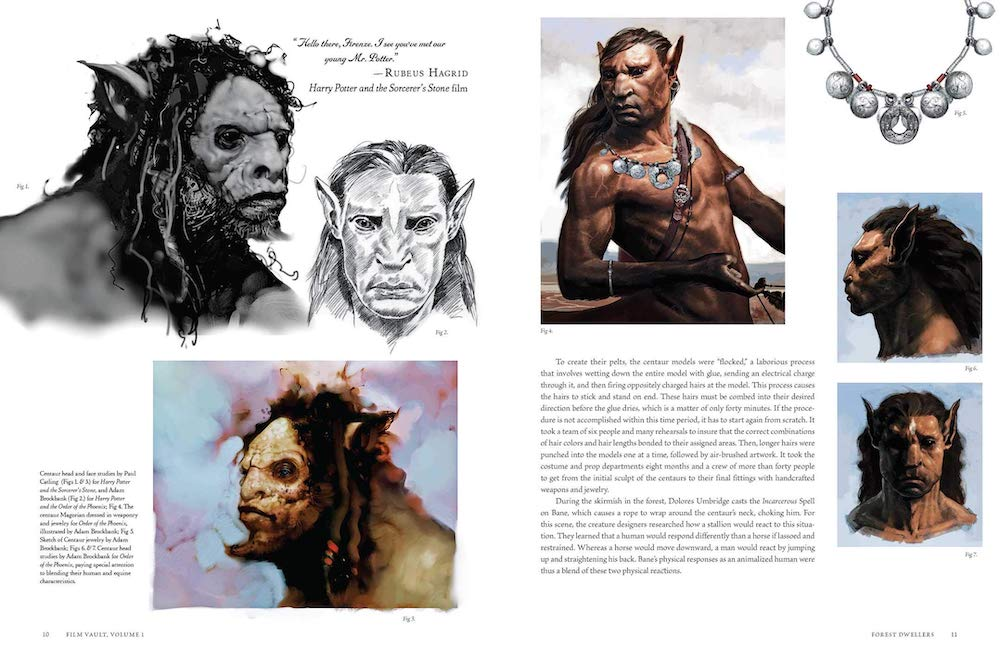 Volume 1 features concept art for the centaurs in the Forbidden Forest.