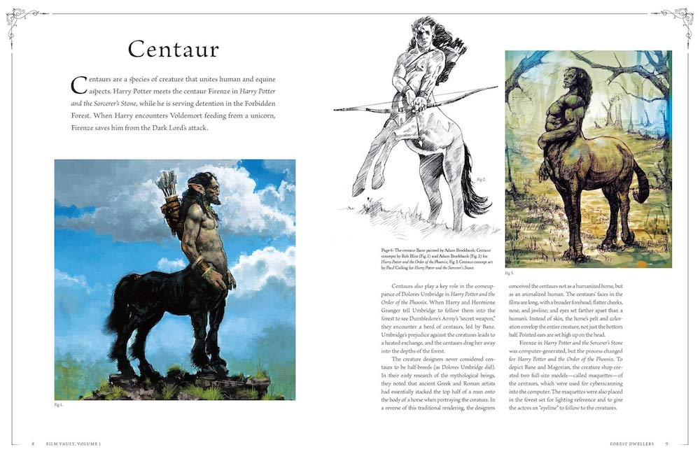 The volume contains concept art and sketches of magical creatures.