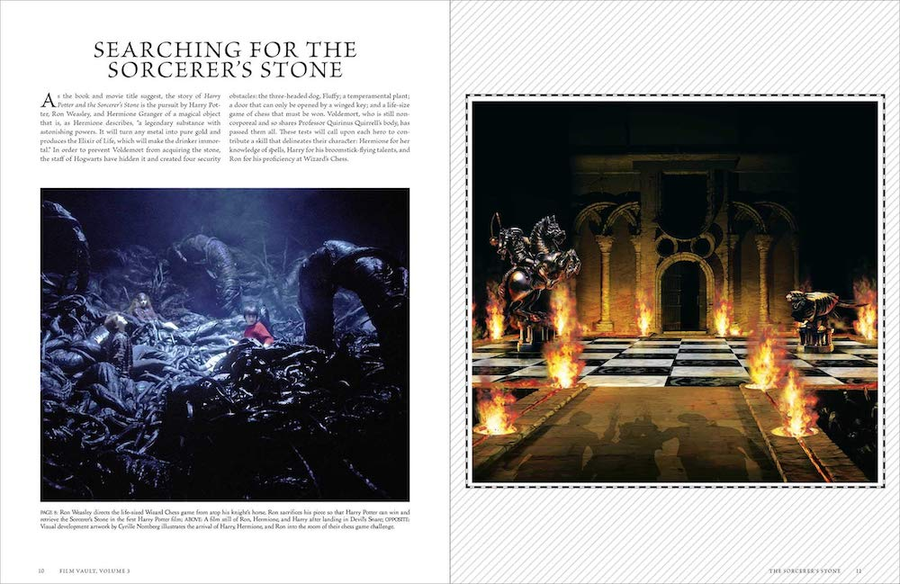 Each challenge the trio faces on the way to saving the Sorcerer's Stone is shown through concept art and photography.