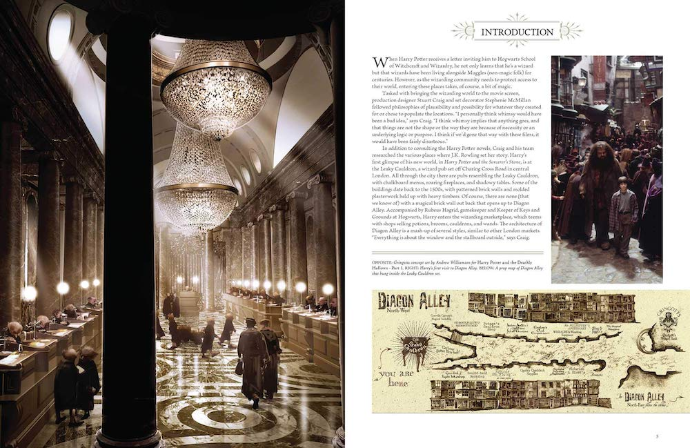 The impressive concept art for the Gringotts set  can be compared to photographs in the book to see which details made it to the big screen.
