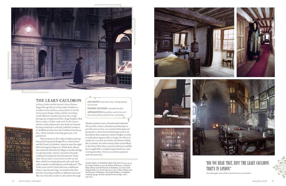 A movie-magic secret of forced perspective can be seen on the pages about the Leaky Cauldron.