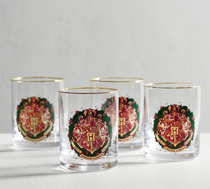 Featuring a festive Hogwarts crest, this set of four tumblers is perfect for any holiday get-together.