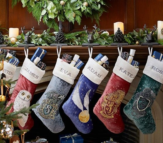These incredible stockings are available in Hogwarts House colors and other magical designs such as Golden Snitches, owls, and Chocolate Frogs.
