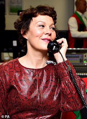 Helen McCrory takes a fundraising call during BGC Charity Day.