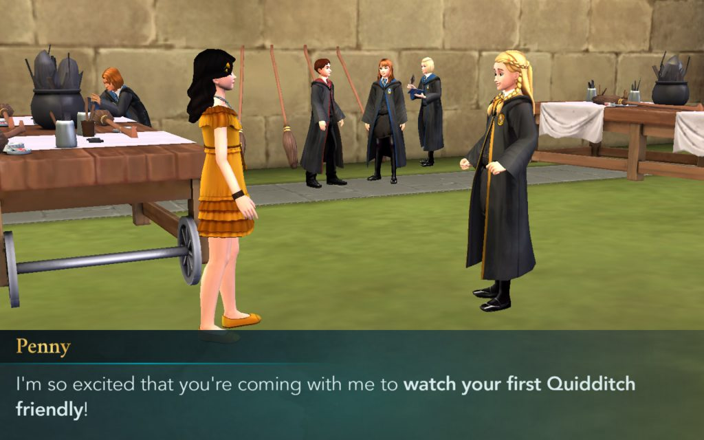"""Penny Haywood greets your character in the new """"Welcome to Quidditch"""" side quest."""