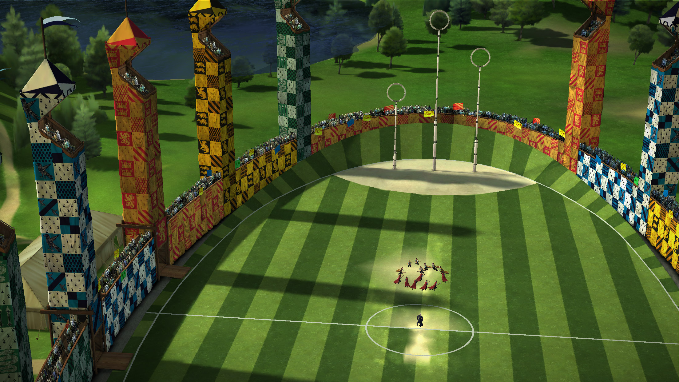 """A bird's-eye view of the Quidditch pitch is seen in this new game image from """"Harry Potter: Hogwarts Mystery""""."""