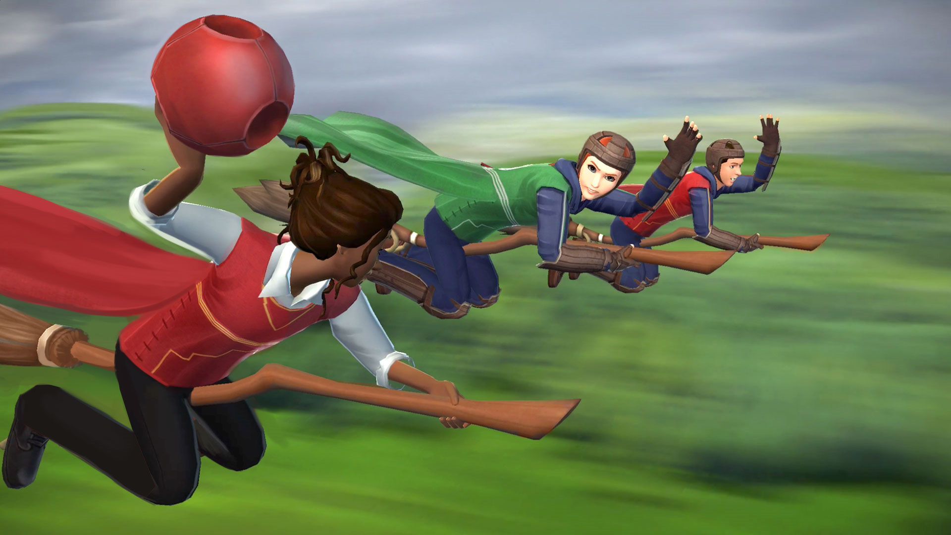 """A Chaser looks to pass the ball to a teammate in this new game image from """"Harry Potter: Hogwarts Mystery""""."""