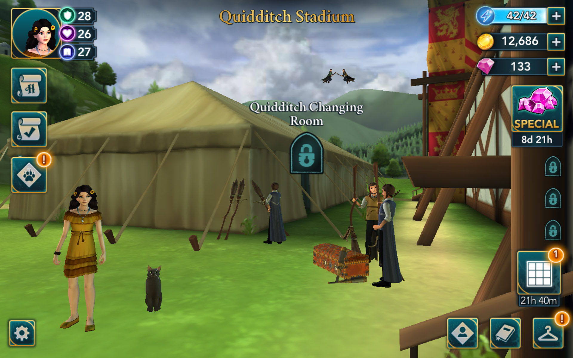 """A view of the Quidditch Changing Room is seen in this screenshot from """"Harry Potter: Hogwarts Mystery""""."""