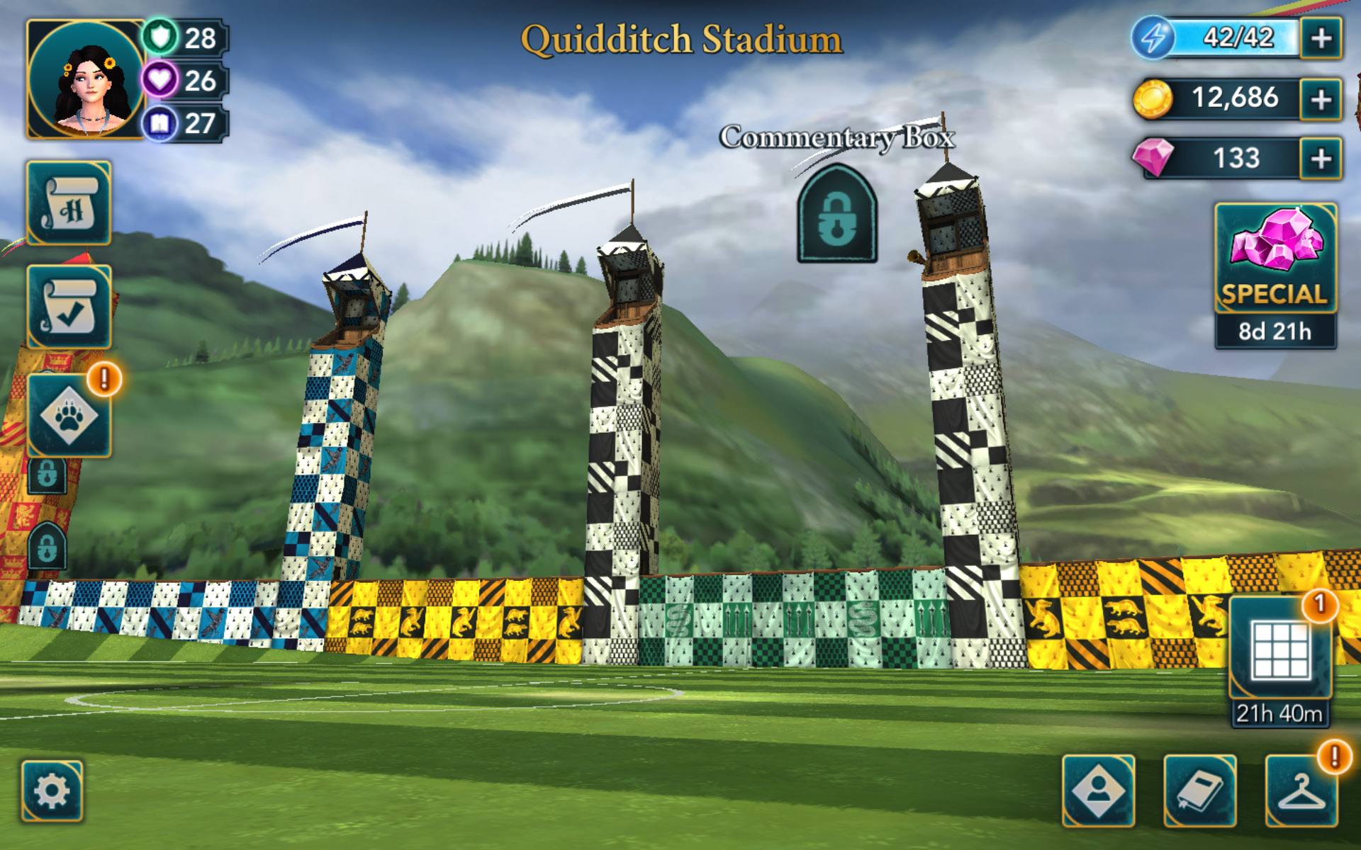 """A view of the Quidditch Stadium Commentary Box is seen in this screenshot from """"Harry Potter: Hogwarts Mystery""""."""