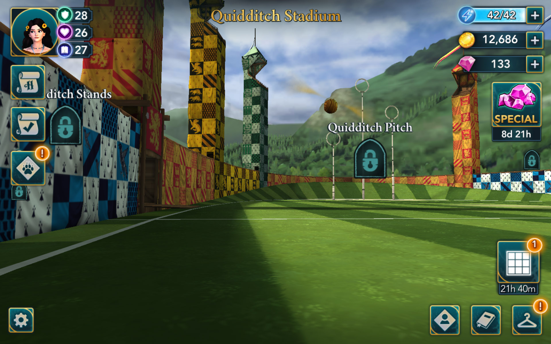 """A view of the Quidditch Stadium and a Golden Snitch is seen in this screenshot from """"Harry Potter: Hogwarts Mystery""""."""