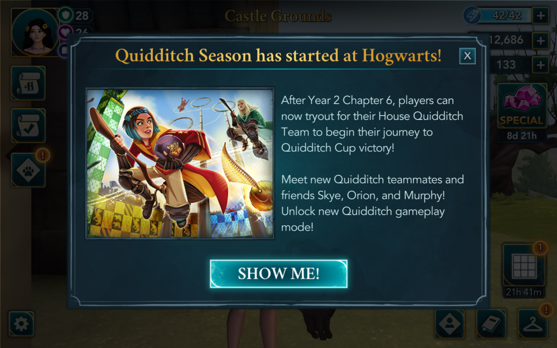 """The new Quidditch update to """"Harry Potter: Hogwarts Mystery"""" is greeting players today with a screen welcoming them to the Quidditch season."""