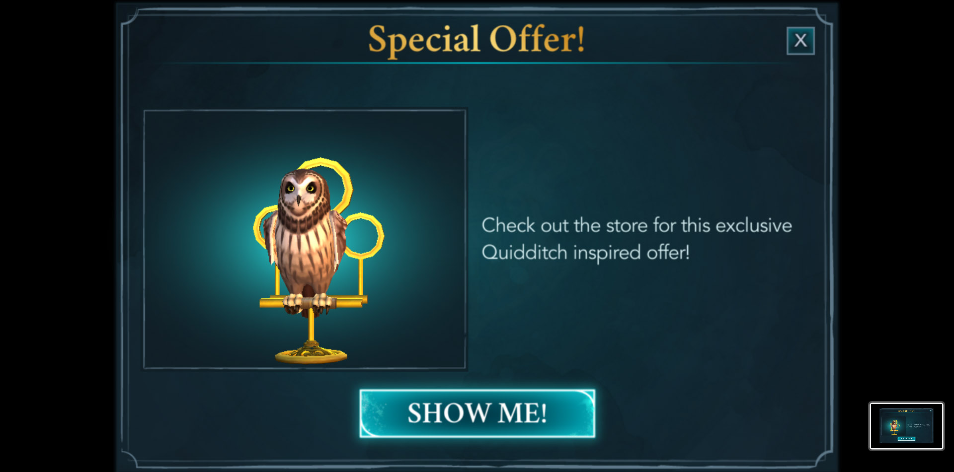 """In conjunction with the """"Harry Potter: Hogwarts Mystery"""" Quidditch update, a special offer includes an owl perch modeled after Quidditch hoops."""