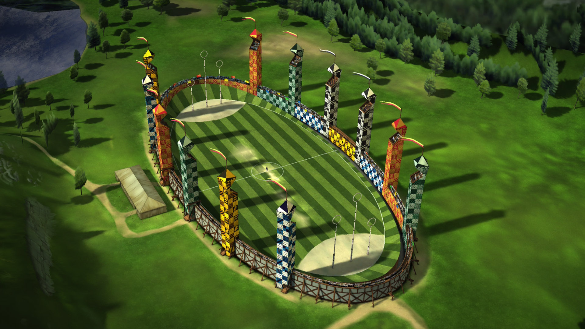 """The Quidditch Stadium is seen from above in this new game image from """"Harry Potter: Hogwarts Mystery""""."""