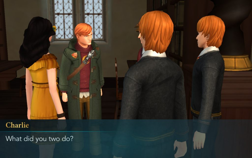 "Charlie Weasley asks his brothers, Fred and George, what they've done in ""Harry Potter: Hogwarts Mystery""."