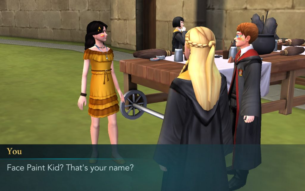 "A ""Harry Potter: Hogwarts Mystery"" character asks Face Paint Kid if that's really his name. Apparently, it is."