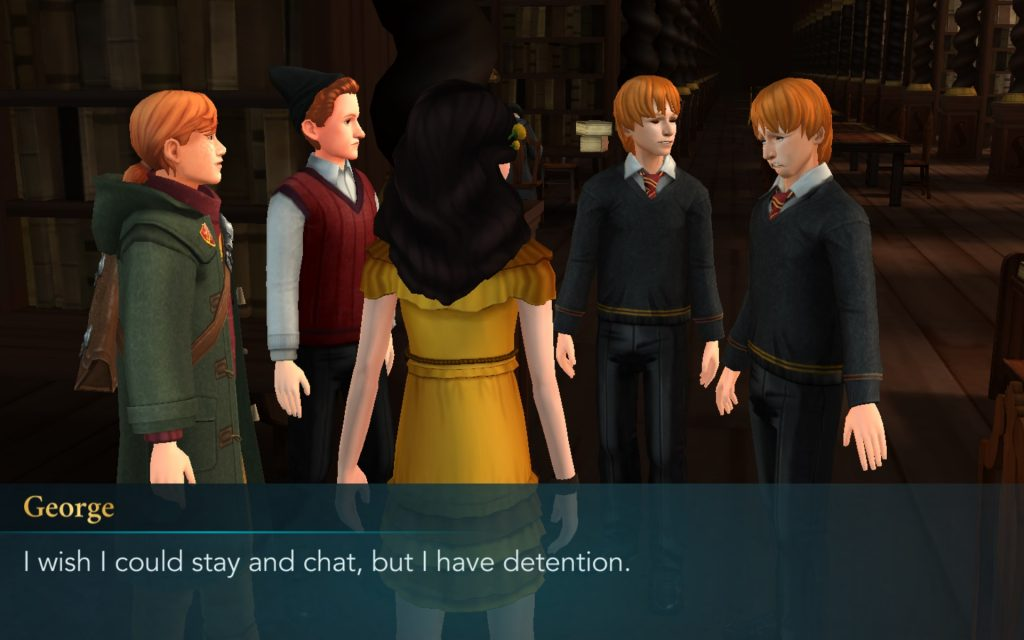 "Fred and George Weasley confess they have detention in ""Harry Potter: Hogwarts Mystery"", and absolutely no one is surprised."
