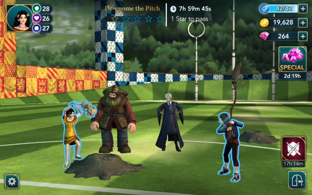 """Harry Potter: Hogwarts Mystery"" characters de-gnome the Quidditch Stadium."