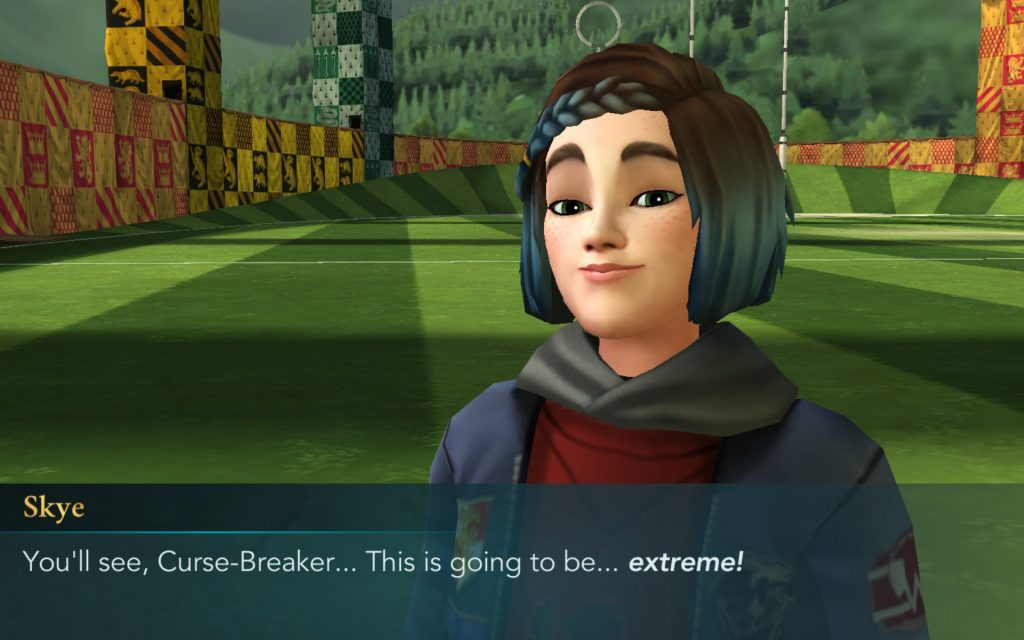 """""""Harry Potter: Hogwarts Mystery"""" character Skye Parkin promises an extreme Quidditch training experience."""