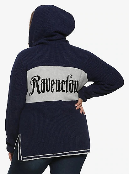 The back of Hot Topic's hooded Ravenclaw sweater is pictured; each sweater features the chosen House's name emblazoned across the back.