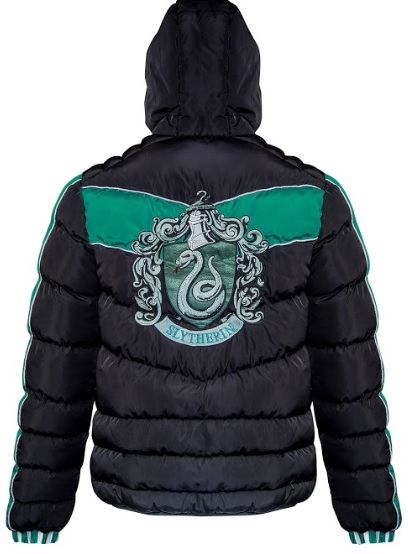 The Slytherin crest is seen emblazoned on the back of this padded jacket from Merchoid.