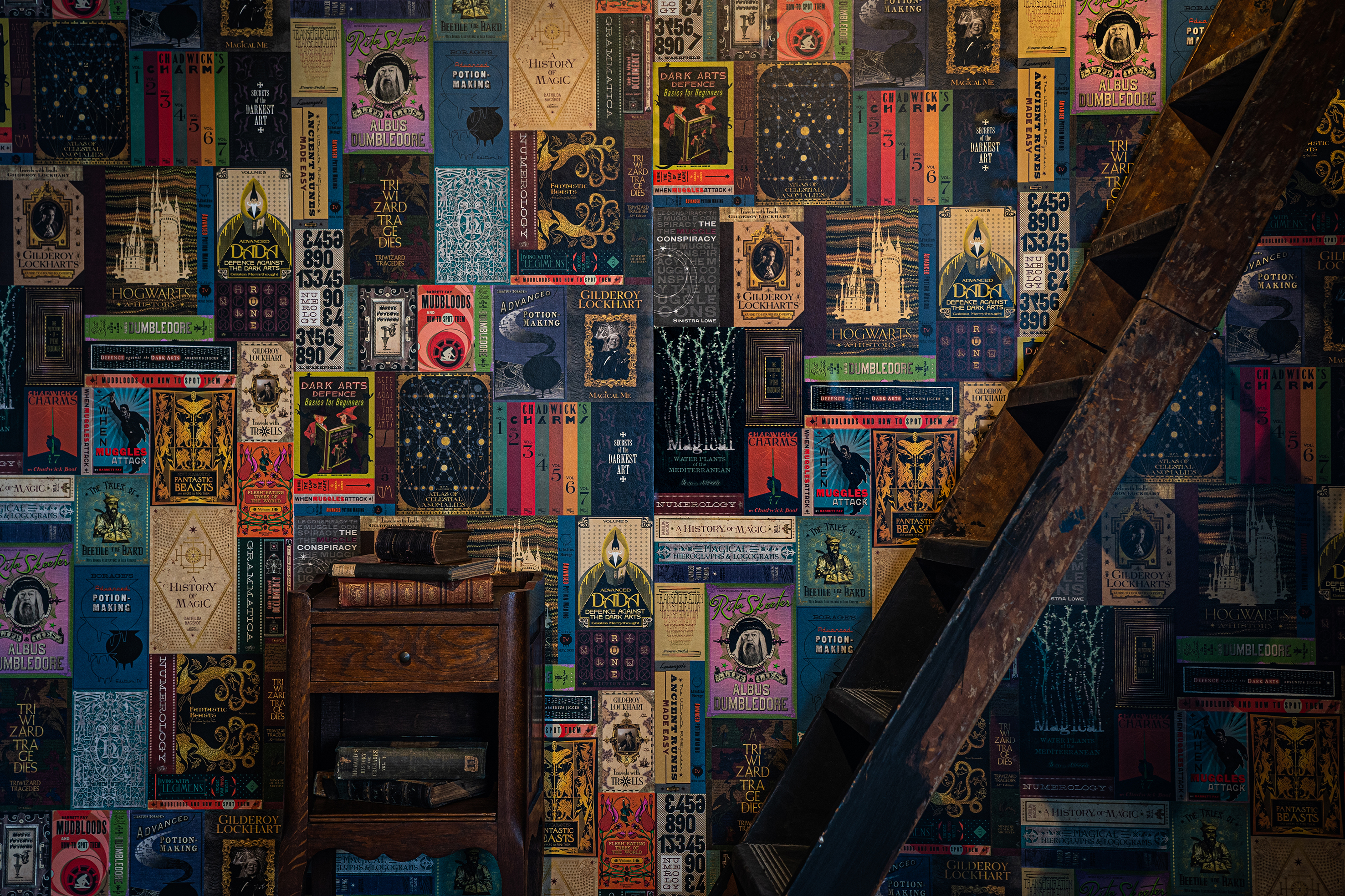 """The wizarding books wallpaper brings """"Harry Potter"""" textbooks and novels to life with vibrant colors."""