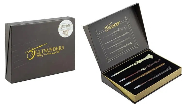 This Ollivanders pen set features four pens crafted to replicate the wands of Harry Potter, Hermione Granger, Albus Dumbledore, and Lord Voldemort.