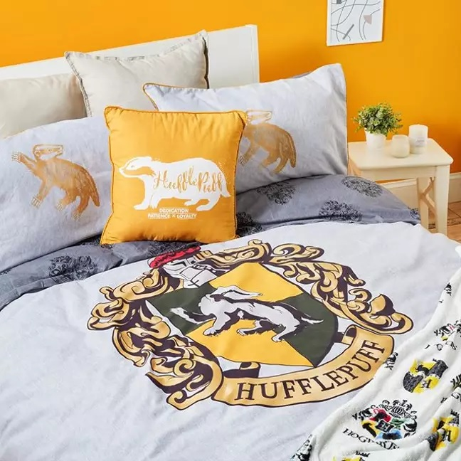 "Pictured is a selection of Primark's new ""Harry Potter"" bedding featuring Hufflepuff House."