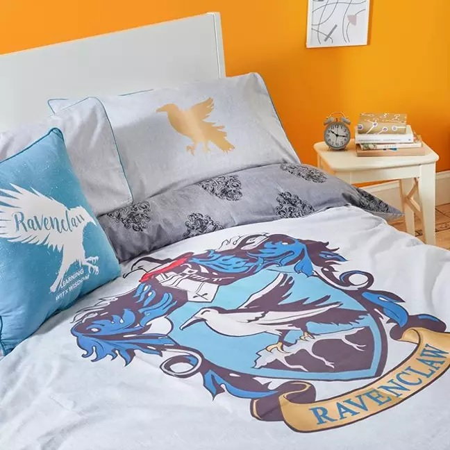 "Pictured is a selection of Primark's new ""Harry Potter"" bedding featuring Ravenclaw House."