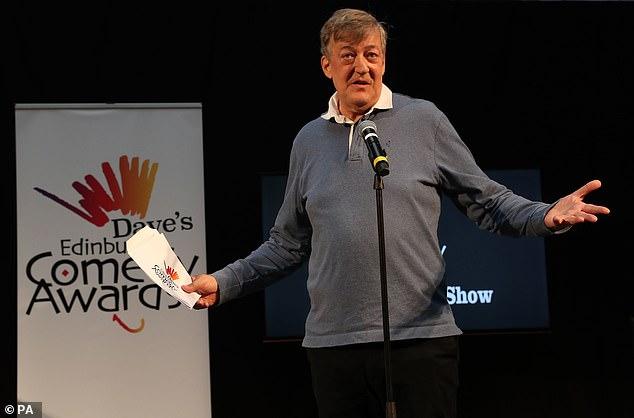 Stephen Fry speaks during the Dave's Edinburgh Comedy Awards at Edinburgh Festival Fringe.