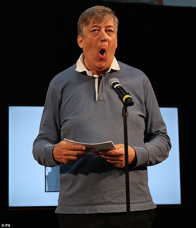 Stephen Fry clowns around during the Dave's Edinburgh Comedy Awards at Edinburgh Festival Fringe.